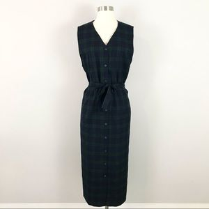 Pendleton 12 Maxi Dress Plaid Green Blue Button Down Front Wool
